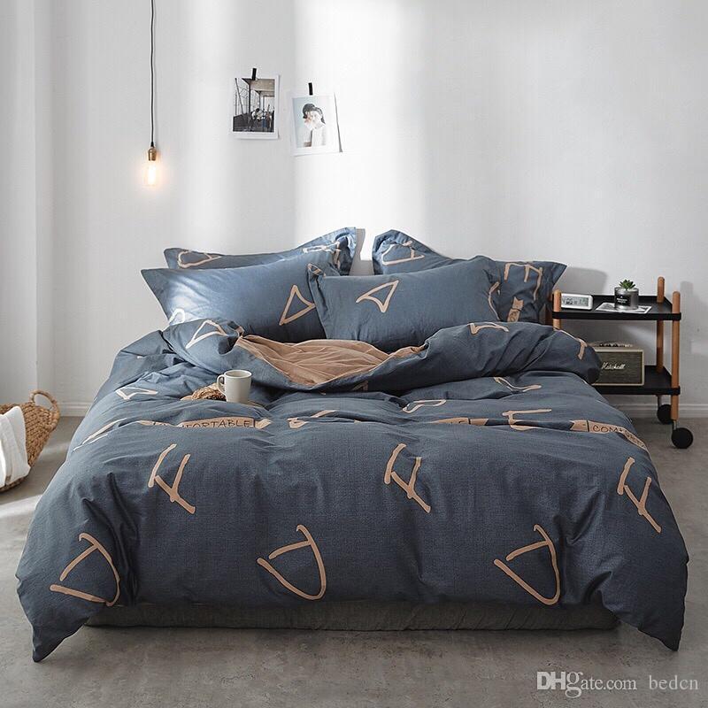 AB сторона постельные принадлежности твердый простой комплект постельных принадлежностей Modern пододеяльник набор король королева полный близнец постельное белье краток кровать плоский лист 11