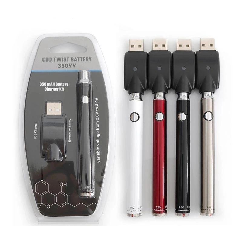 eCig Blister Pack 350VV Preheat Battery 350mAh 650mAh Bottom Twist Cartridge Kit Vape Variable Voltage Ego Evod Spinner Pen with USB Charger