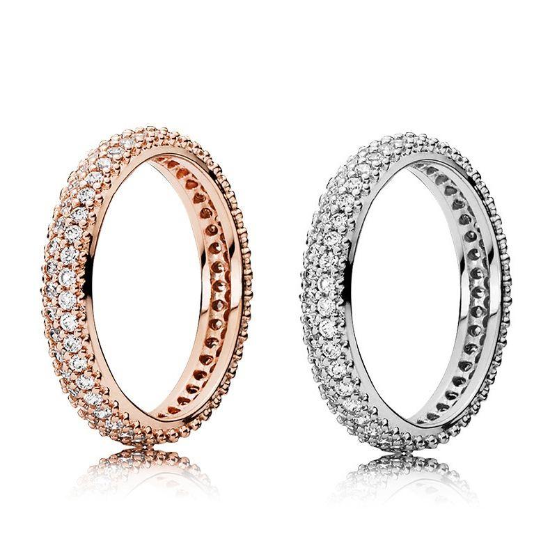 الساحرة CZ رائع خاتم الماس لمصمم الفاخرة باندورا 925 الفضة الاسترليني ارتفع الذهب السيدات خاتم مطلي المربع الأصلي هدية مجموعة عطلة