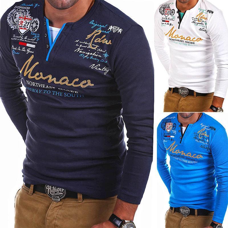 ZOGAA Brand shirt men Long Sleeve Shirt Men Striped Fold Raglan Sleeve Style Tops Tees Slim Solid Color 3xl