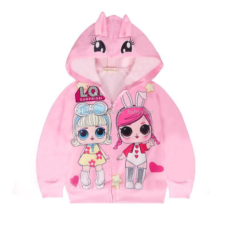 Caráter leve Temático Impresso Adorável Casacos de boneca para meninas 3-8 anos zíper zíper Cardigan crianças camisola