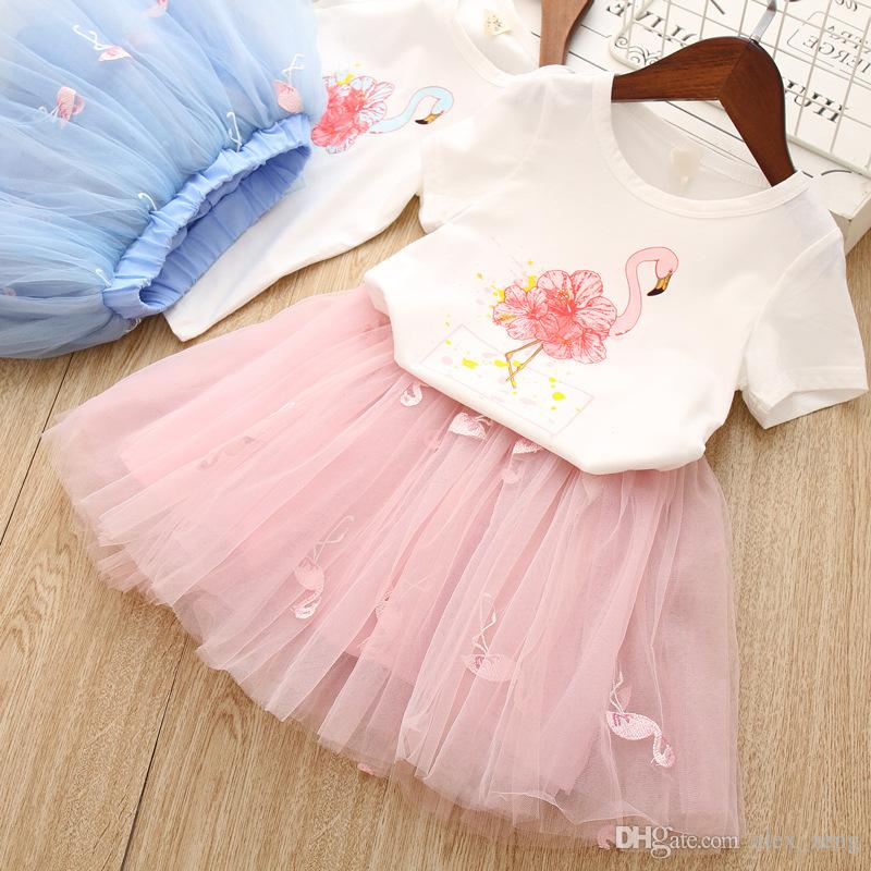 Ruffle Skirt Outfits UK Baby Kids Girls Flamingo Print Short Sleeve T-shirt