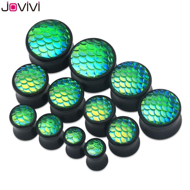 JOVIVI 6-16mm 블랙 솔리드 아크릴 인어 생선 규모 안장 귀 플러그 육체 터널 단일 플레어 확장기 들것 피어싱