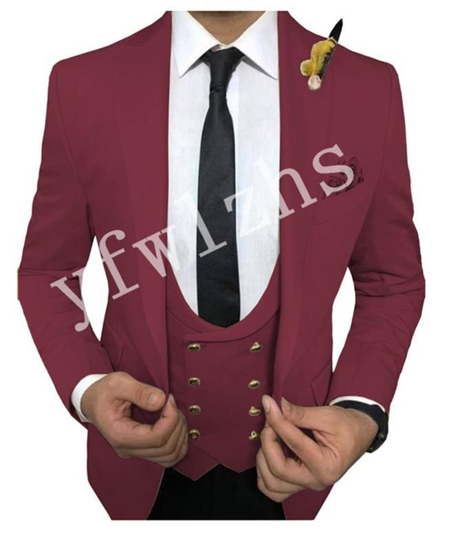 Bonito One Button Groomsmen pico lapela do noivo Smoking Mens casamento do homem vestido Jacket Blazer Prom Jantar ternos (camisa + calça + gravata + Vest) W58