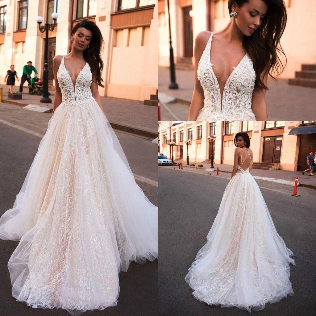 2020 New Lace A Line Boho Wedding Dress Glitter V Neck Arabic Criss Cross Bridal Dresses Vestido De Noiva Beach Wedding Bridal Gowns