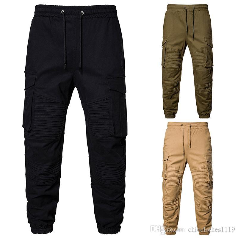 Men Pants Running Hip Hop Harem Joggers Pants New Male Trousers Mens Solid Multi-pocket Cargo Pants Skinny Fit Sweatpants