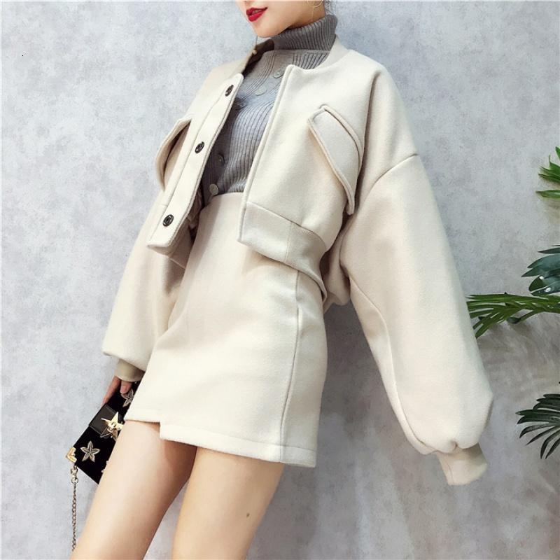 치마 여성 높은 허리 불규칙한 스트리트 코트 여성 망토 튜닉 2020 박쥐 슬리브 모직 짧은 느슨한 가을 봄 재킷