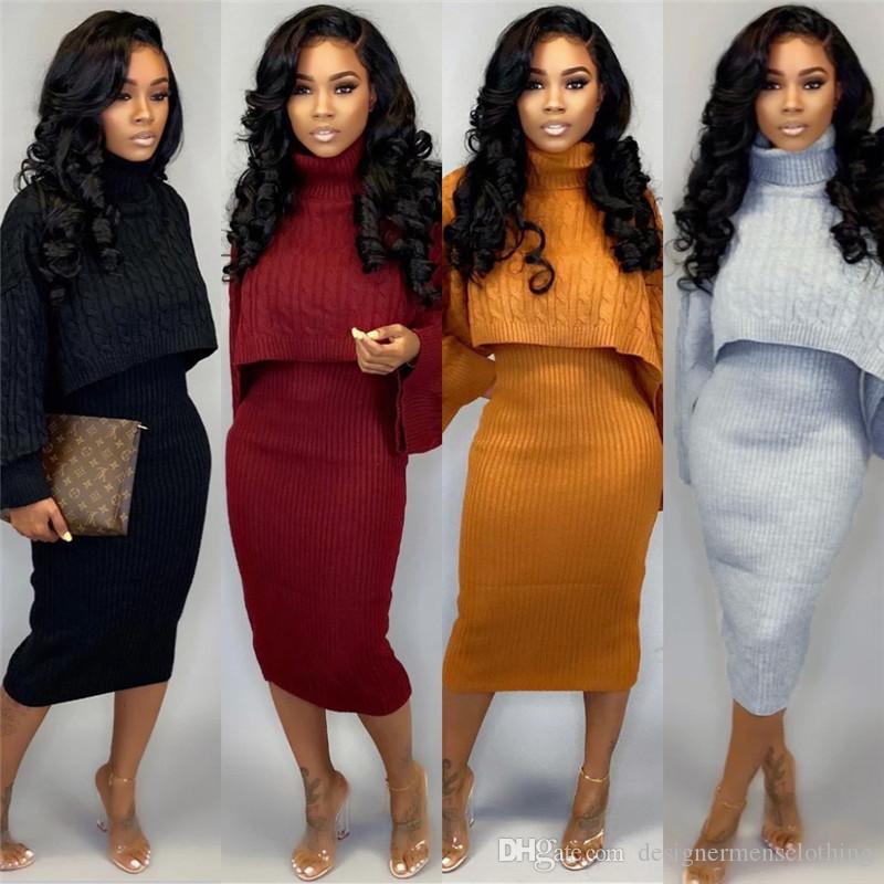 Mesdames deux pièces Tenues col haut à manches longues de couleur unie 2PCS Pulls Mode Femme Taille Plus Vêtements