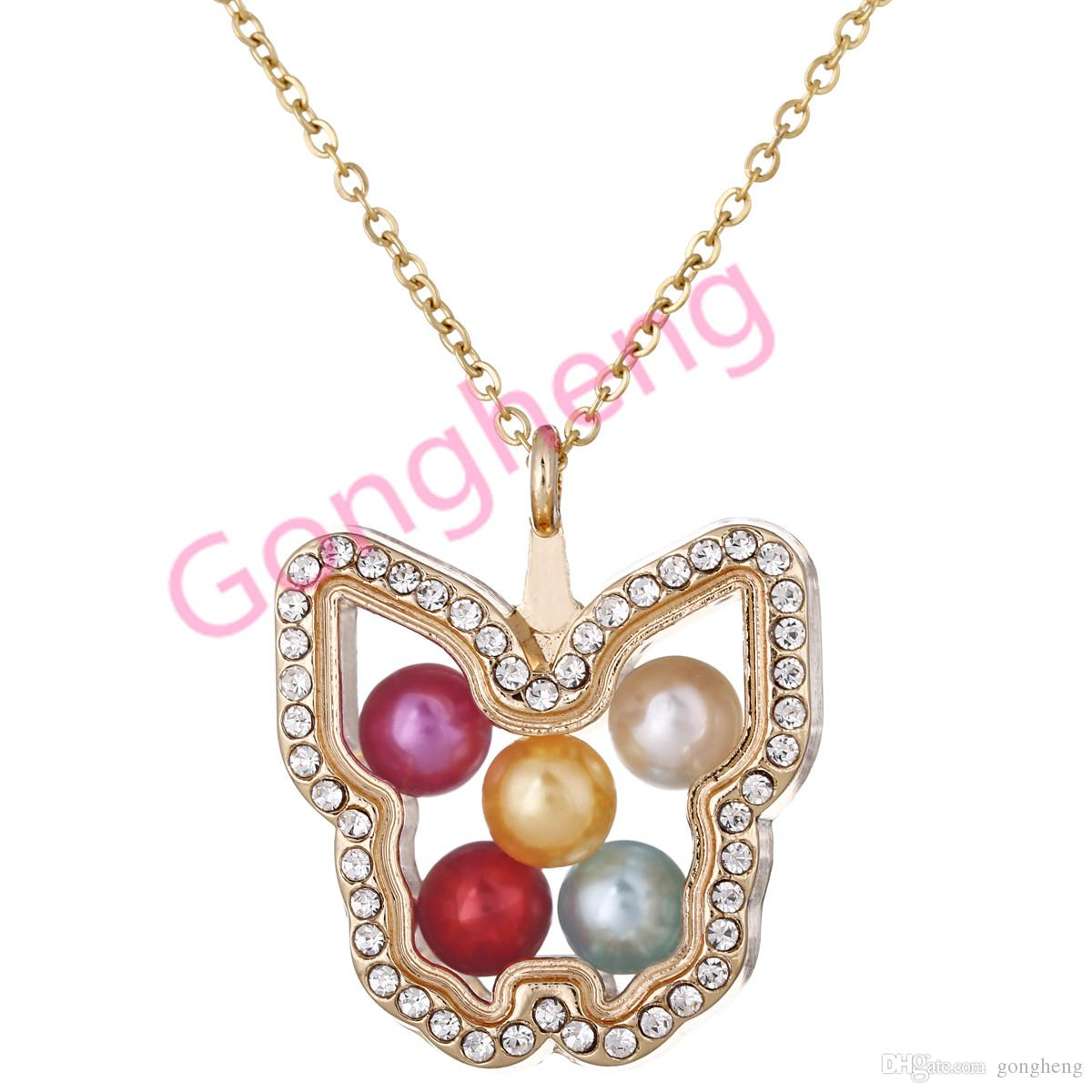 G1441 Gold Color Butterfly Pearl Beads Cage With Rhinestone Magnetic Glass Floating Locket Pendants Women Charms Necklace