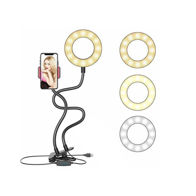 Mobile Clip Light Tripod Selfie Flash Ring Light + Porta cellulare 24 LED Camera 2 in 1 Flexibl braccio lungo clip USB per flusso live