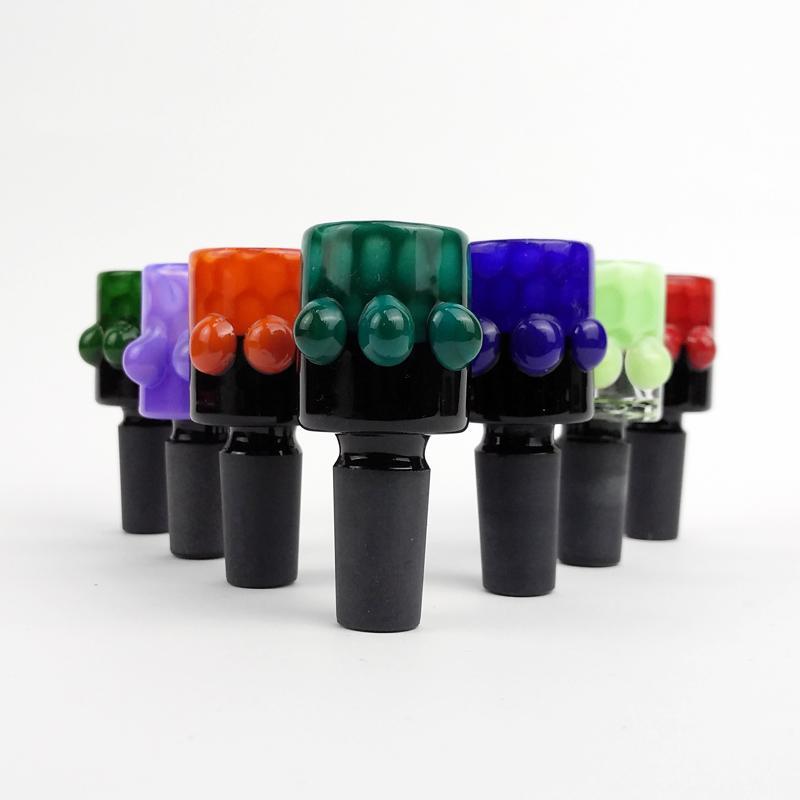 Taças de vidro para Bongs 14 milímetros Masculino Rosa Azul Verde Vidro Grosso bacia da água para a Água Bongos Bacia Pieces para Bongs