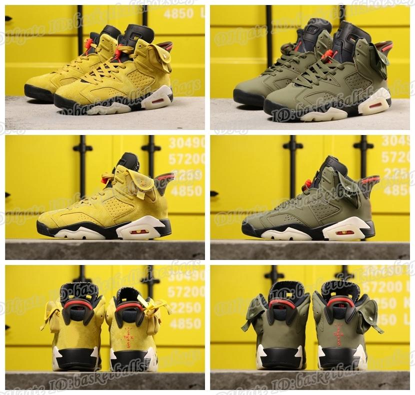 6 2020 New Scotts Arrived Travis Og Cactus Jack Glow In Dark 3m Reflective Wheat Yellow Men Designer Basketball Shoes 6s Sports Sneakers