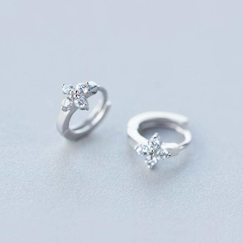 Frauen 100% realer reines echten 925 Sterlingsilber Blumenohrschmuck Frauen-Band-Ohrringe mit klaren CZ