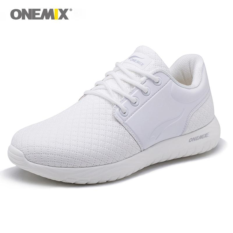 Onemix Top Women's Running Shoes Lightweight Breathable Mesh Sports Shoes Cushioning DMX Sneakers White Walking Jogging