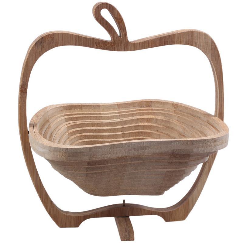 과일에 대한 애플의 형태로 대나무 접이식 바구니 / 바구니 (목재 로그)