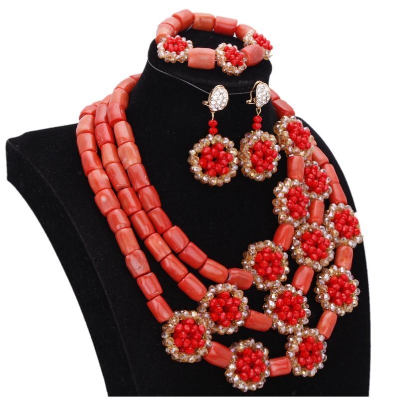 دودو 100٪ الأصلي المرجان قلادة الخرز مجموعة مجوهرات مع الأحمر الذهب كريستال اليدوية الزهور الأفريقي النيجيري الخرز والمجوهرات مجموعة