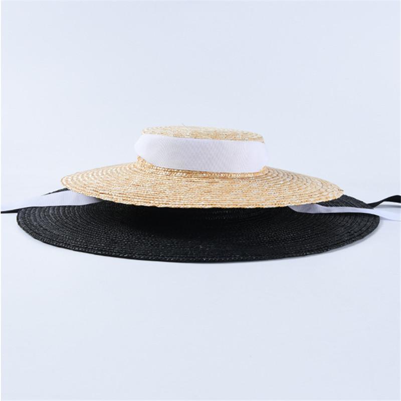 Women Wide Brim Hats Fashion Black Stripe Beach Hat Summer Solid