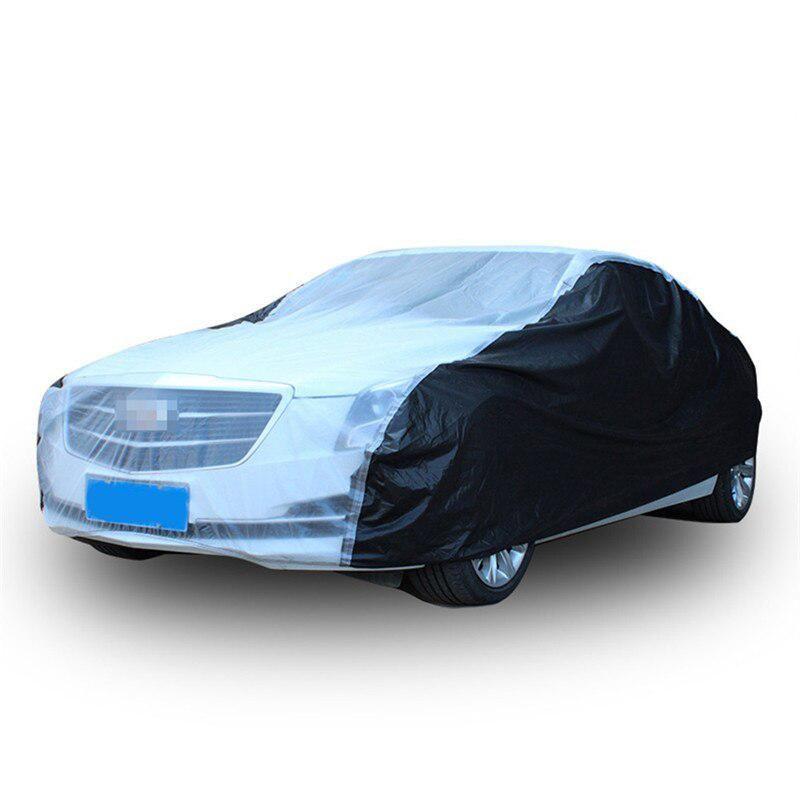 Car-Cover Black + Transparent Regen Staubdicht Sonnenschutz Auto Full Cover Thick PEVA Indoor Outdoor Full Auto-Größe S / M / L / XL / XXL