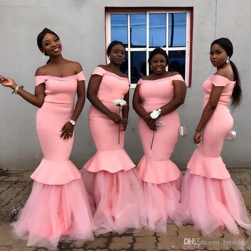 Rose rose de l'épaule Robes de demoiselle d'honneur de sirène 2020 fille noire africaine Satin Tulle Tulle Formel Fête de mariage