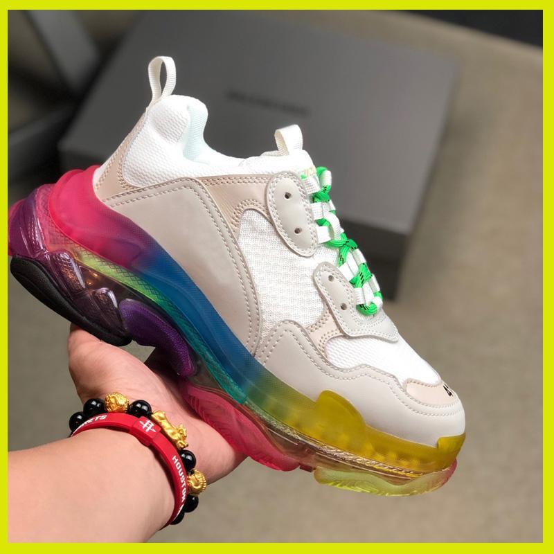 Diseñador de zapatillas de deporte de las mujeres de los hombres zapatos de papá parís Crystal Triple S 17FW de lujo baratos vendimia viejo abuelo Trainer femme Chaussures