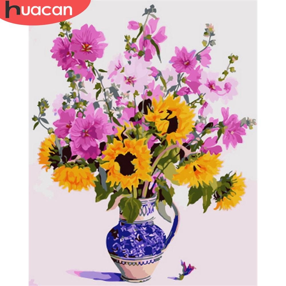 HUACAN Painting By Numbers Flowers In Vase Picture Acrylic Diy Gift Canvas By Number DIY Handpainted For Home Decoration