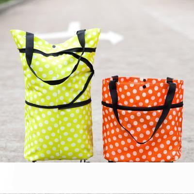 A Oxford folding shopping bags with wheels HOT SALE supermarket tug shopping bags folding wheel packing for vegetables fruits storage b