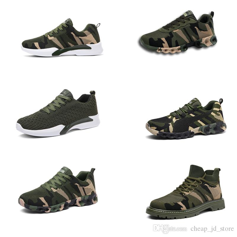 Classicl No-designer marca Calçados Homens Mulheres Sports Shoes camuflar verde Outdoor instrutor Siez 35-44 Estilo 17