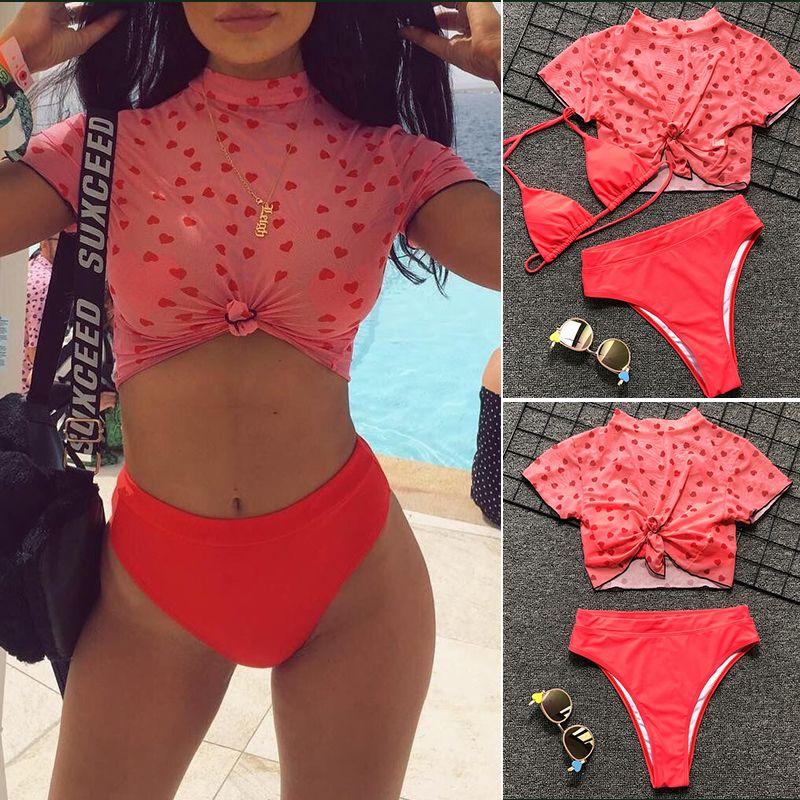 Die Frauen 3 Stück reizvolle Taille Bikini-Liebes-Herz drückt Badebekleidung Badeanzug Sommerstrandabnutzung Roten Druck crop top Badeanzug Zu