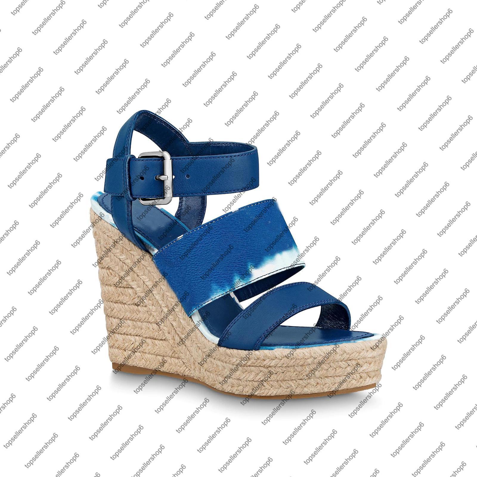 ESCALE 우현 WEDGE 여성 플랫폼 샌들 캔버스 넥타이 염색 신발 밑창 고무 버클 새겨진 블루 12cm 하이힐 샌들을 에스파 드리 유