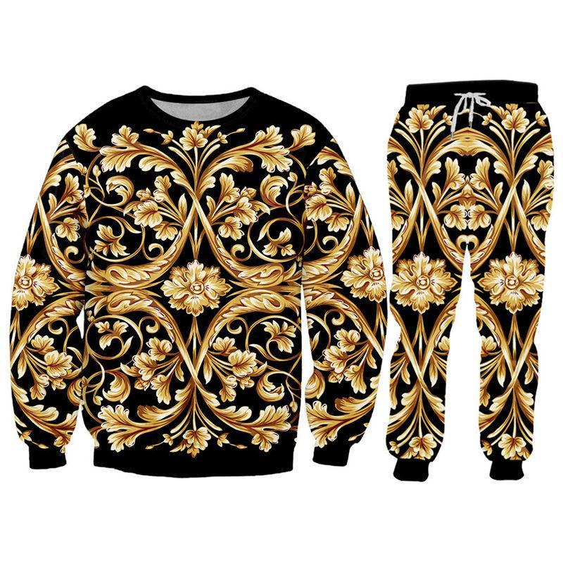 Neuheit Barockschloss MarkeHoodie SweatshirtJogger Pants Set Luxus-3D Royal Gold-Blumen-Druck Unisex Tops Jogginghose Individuelle