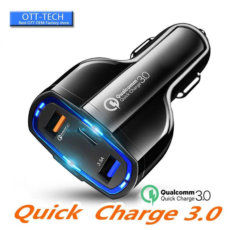 Portas 35W 7A dupla Car Charger Tipo C e USB Charger QC3.0 Com Qualcomm Quick Charge Tecnologia para o telefone móvel GPS Power Bank Tablet