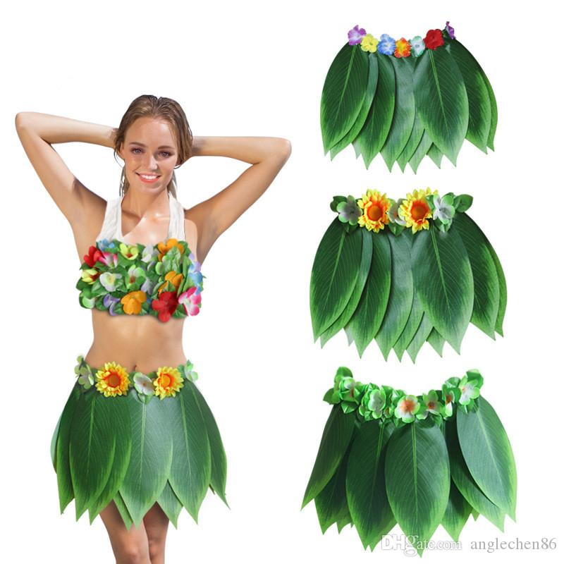 Adult Hawaiian Skirt Costume Tropical Dress Hula Luau Leis Party Dress Up 60cm