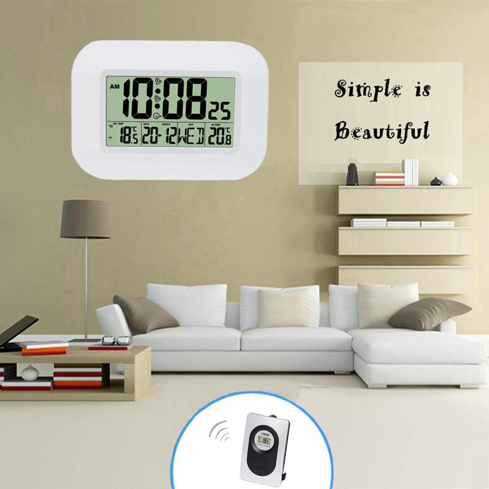 Big LCD Digital Wall Clock Thermometer Temperature Radio Controlled Alarm Clock RCC Table Desk Calendar for Home School Office