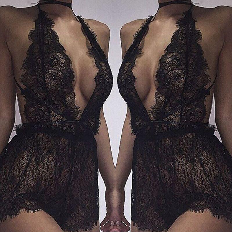 Sexy-Women's Lace Lingerie Nightwear Underwear G-corda Babydoll Vestido Sleepwear