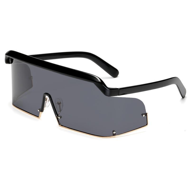 Nuovo stile polarizzante di un pezzo da sole uomini di modo e donne di grandi occhiali da sole, gli occhiali di tendenza senza cornice