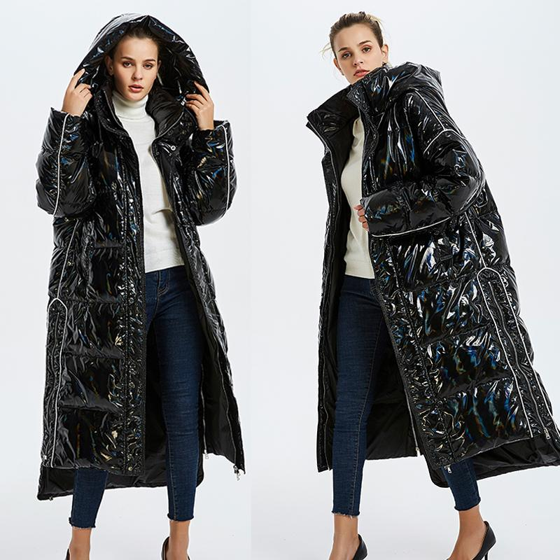 Glossy patent fabric down coats Winter Luxurious quality glossy down coat female hooded collar oversize thicker warm coats