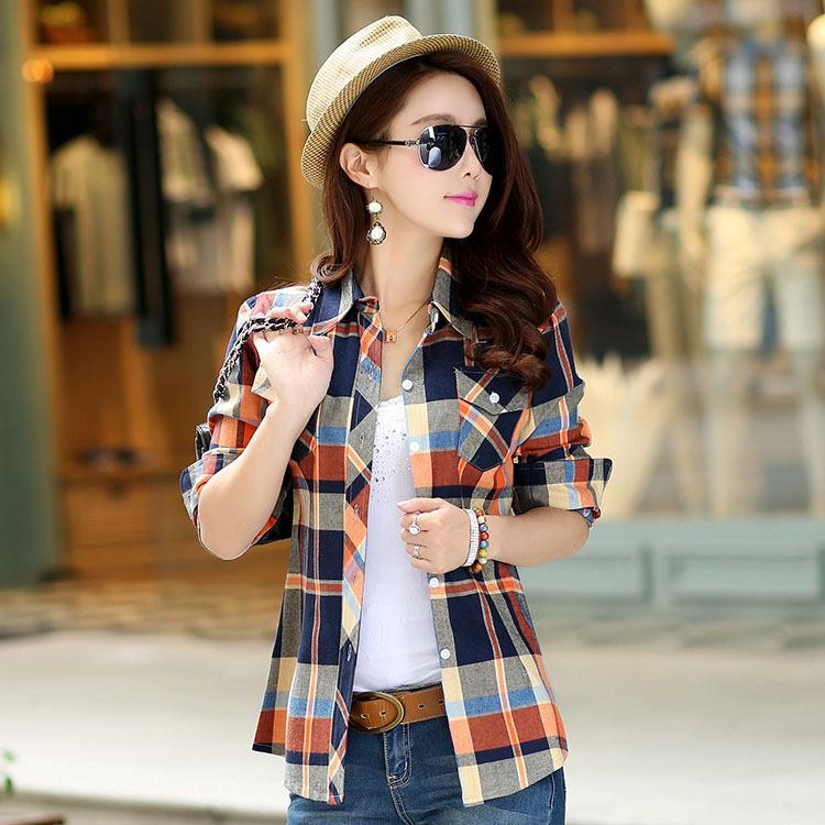 2016 Autumn Flanne Plaid Shirt Moda Donna Top Blusas Femininas ragazze classici camicette casuali di stile di più le donne