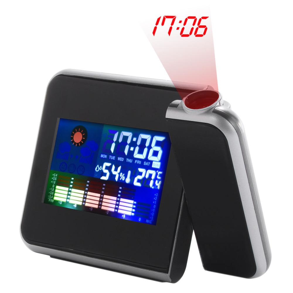 1Pc 2018 New Arrival Home Use Black Digital LCD Screen Weather Station Forecast Calendar Projector Alarm Clock Free Shipping