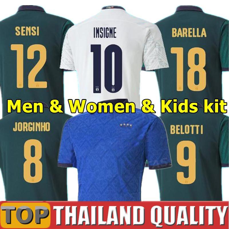 2020 إيطاليا لكرة القدم بالقميص INSIGNE النهضة قميص كرة القدم مجموعة كيليني بونوتشي BERNARDESCHI BELOTTI BARELLA من الرجال والنساء والأطفال الزي عدة