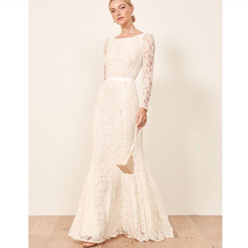 2019 Simple Ivory Lace Mermaid Wedding Dresses Floor Length