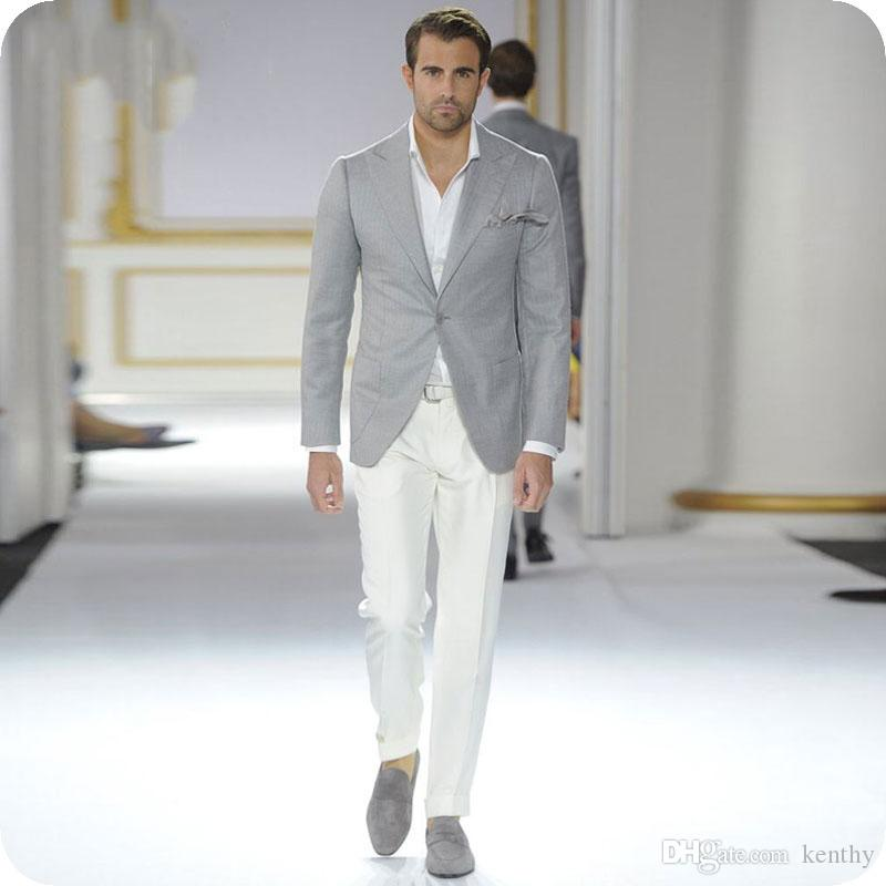Wide Peaked Lapel 2Piece Light Grey Man Blazer Jacket Business Latest Designs Coat Pant Costume Homme Slim Fit Man Suit Mens Wedding Suits