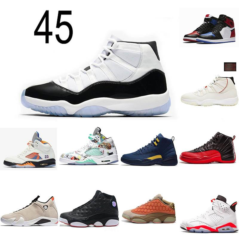 Hommes Chaussures De Basketball 1s 3s 4s 5s 6s 11s 12s 13s 14s Carmine Classique UNC Noir Blanc Infrarouge Hommes Sport Bleu Rouge Oreo Sneakers Taille 40-47