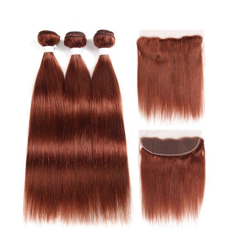 نقية ملونة # 33 مستقيم ريمي الشعر الإنسان لحمة حزم مع 13x4 الرباط أمامي