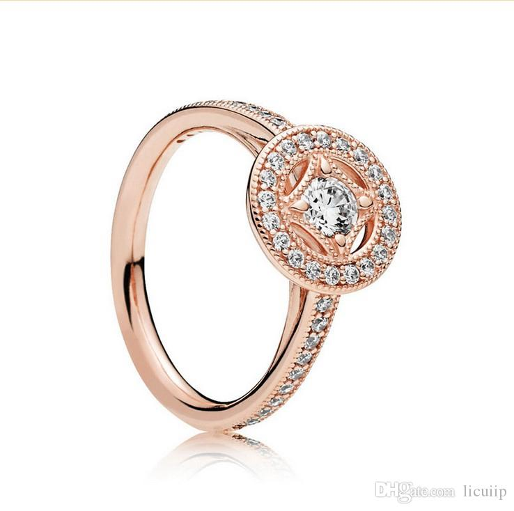 Line and Gem Noble Ring Authentic 925 Sterling Silver Plated 18K Gold Cubic Zirconia CZ Diamond with box Suitable for Pandora ring