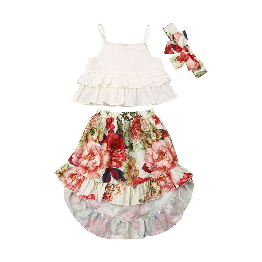 Kids Girls Clothes Summer 3Pcs Ruffle Top Flower Print Dress Girls Outfit Girl Clothing Children Costume Cotton Kids Clothes Set
