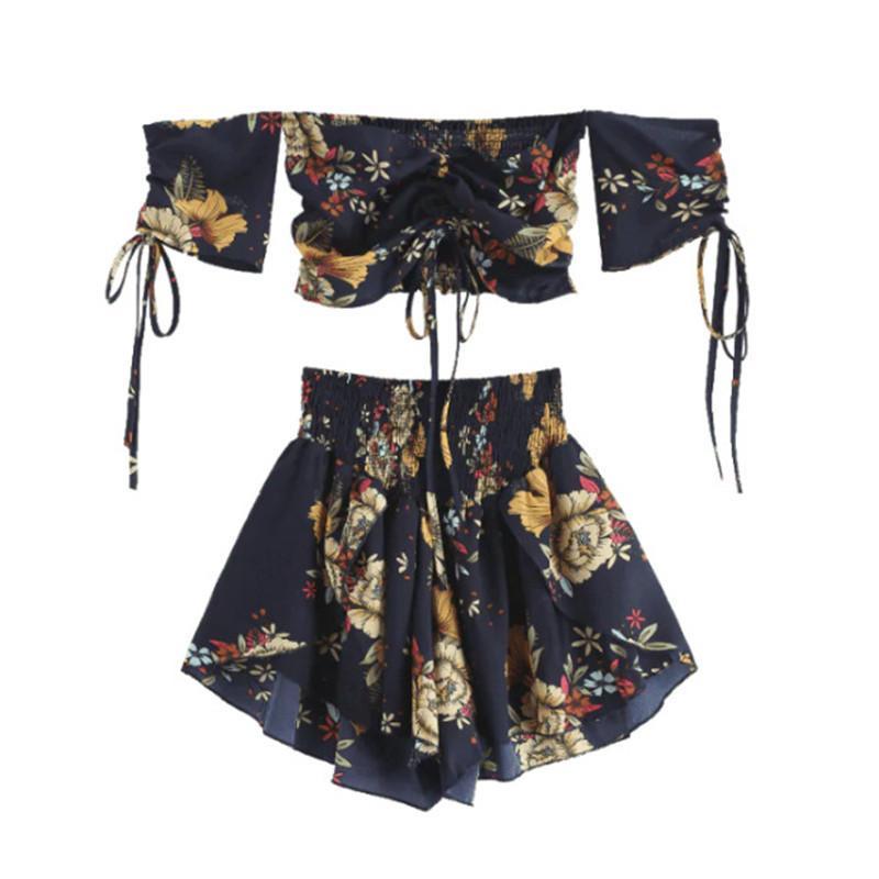 Kapalı Omuz Cinched Çiçek Kadınlar Set Yaz Slash Boyun Kısa Kollu Mahsul En Yüksek Bel Şort Set Plaj Boho 5 Renk T5190610 Suits