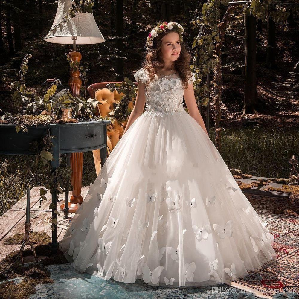 Formal Occasion Butterfly Kids Flower Girl Dresses First Communion Party Prom Princess Gown Bridesmaid Wedding with Train