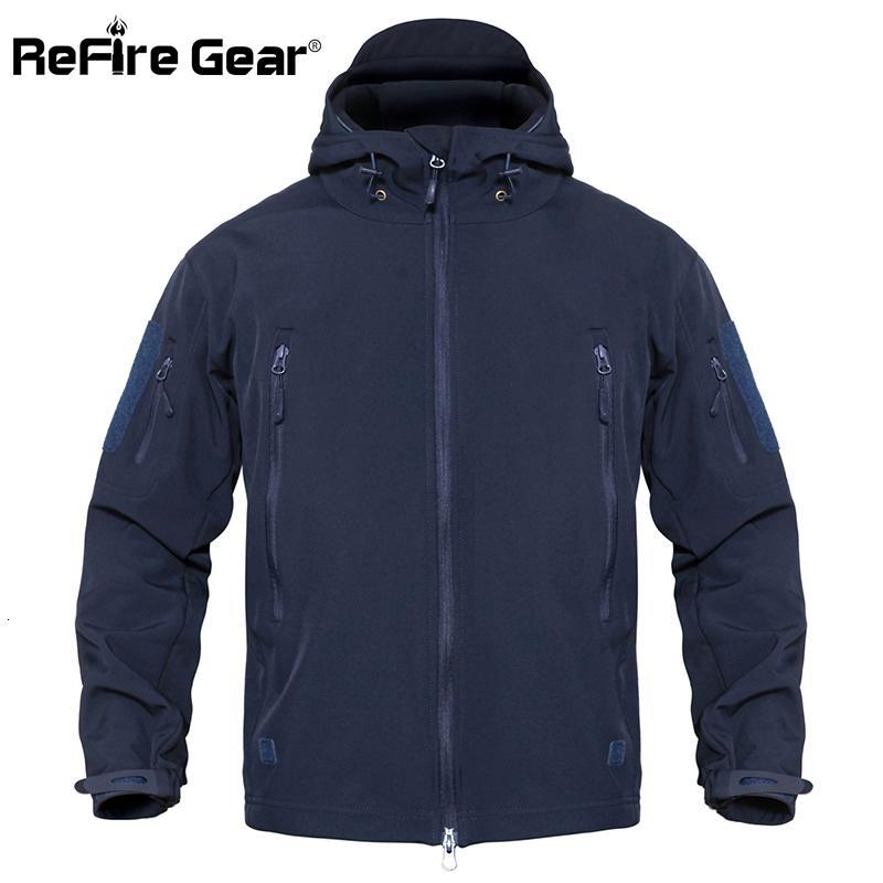 Refire engranaje táctico chaqueta impermeable Ejército chaqueta de los hombres de camuflaje militar de caparazón blando de invierno rompevientos con capucha Escudo caza ropa CJ191203