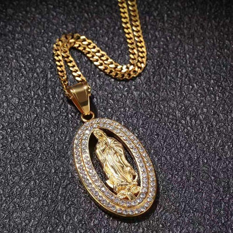 aus Jungfrau Maria Halsketten Herren Frauen Luxus-Designer-Herren-bling Diamant Cuban Link Kette Schmuck Geschenk Christian Anhänger Gold vereist