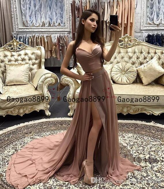 2020 african two pieces prom dresses sexy sweetheart neck with lace Appliques Evening Dress Arabic chiffon stain Party Gown vestidos de